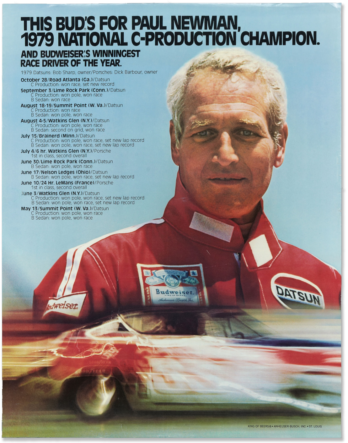 Paul Newman Budweiser Racing Poster Megadeluxe For The