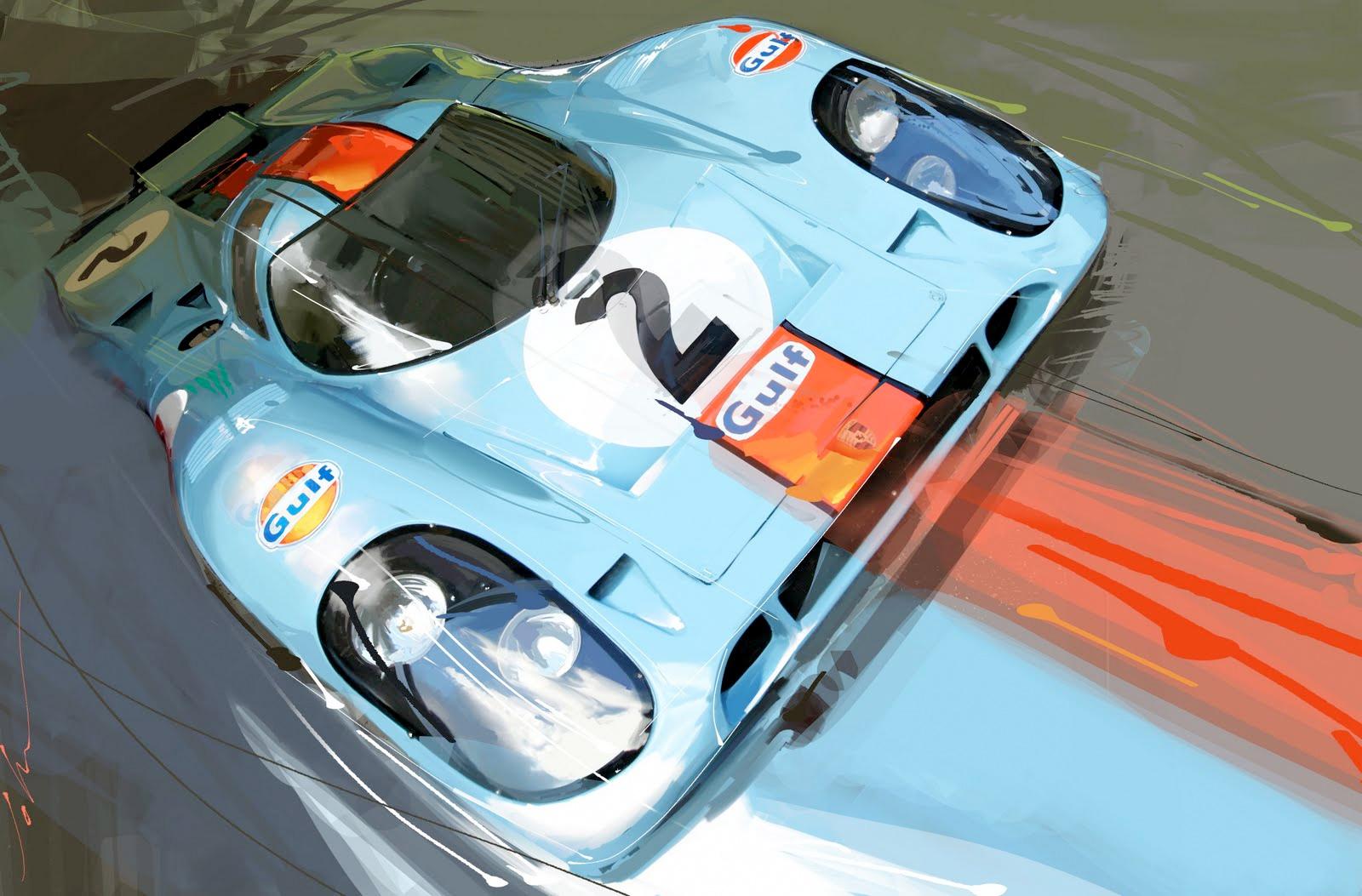 Home gt steve mcqueen porsche paintings - Porsche 917 1970 Lemans
