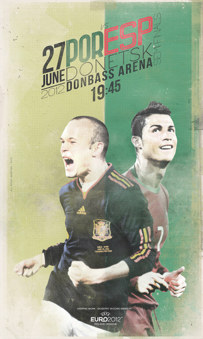 Euro 2012 Poster Football Match By Vecchio Barbieri